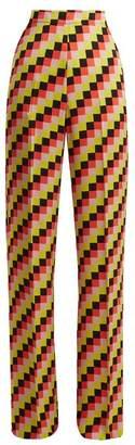 Etro Palazzo Geometric Print Satin Trousers - Womens - Black Multi