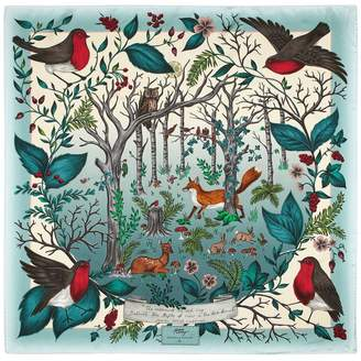 Aspinal of London Robin Silk Scarf In Teal