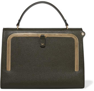 Anya Hindmarch Postbox Textured-leather Tote - Army green