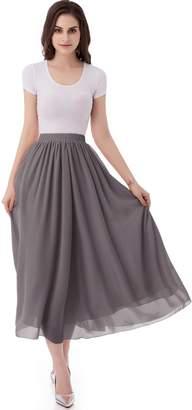 Emondora Women's Chiffon Long A-line Retro Skirts Pleated Beach Maxi Skirt Size XXL
