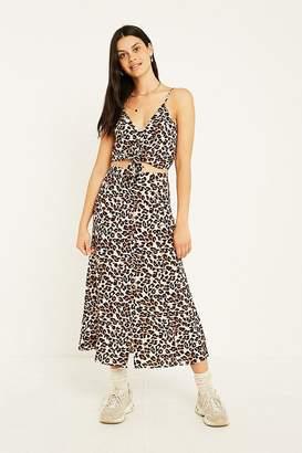 Urban Outfitters Ella Leopard Print Midi Skirt