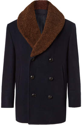 Brioni Double-Breasted Shearling-Trimmed Cashmere-Felt Coat
