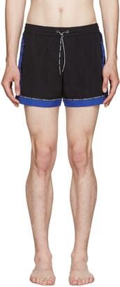 Versace Underwear Black & Blue Swim Shorts $475 thestylecure.com