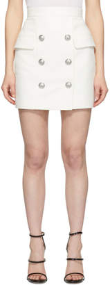 Balmain White Tweed High-Waisted Miniskirt