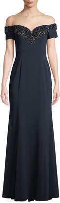Badgley Mischka Off-the-Shoulder Gown w/ Embellished Collar