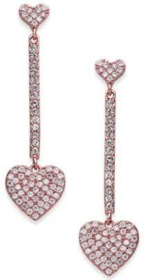 Kate Spade Rose Gold-Tone Pavé Heart Linear Drop Earrings