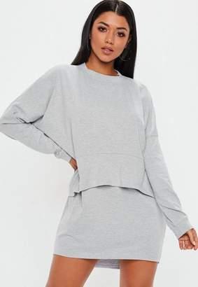 Missguided Grey Oversized Jersey Overlay T Shirt Dress, Grey