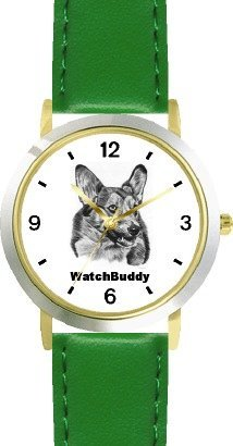 Corgi SC) Dog - WATCHBUDDY® CLASSIC DELUXE TWO-TONE THEME WATCH - Arabic Numbers-Green Leather Strap-Size-Large ( Men's Size or Jumbo Women's Size )