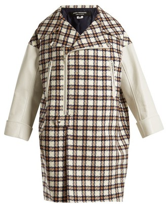Junya Watanabe Leather Trimmed Hound's Tooth Wool Blend Coat - Womens - White Multi