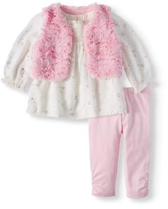 Wonder Nation Chiffon Faux Fur Vest, Chiffon Blouse & Leggings, 3pc Outfit Set (Baby Girls)
