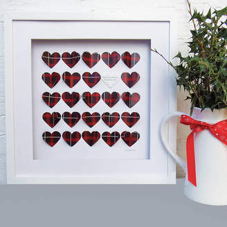 Daisy Maison Framed 3D Box Of Tartan Hearts