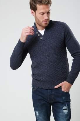 Next Mens Threadbare Twist Notch Knitted Pullover Jumper