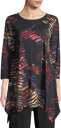 Caroline Rose Harvest-Print Knit Swing Tunic Top