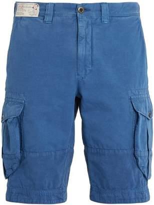 Incotex Mid Rise Cotton Cargo Shorts - Mens - Blue