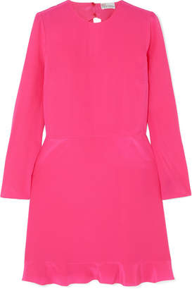 RED Valentino Bow-embellished Silk Crepe De Chine Mini Dress - Bright pink