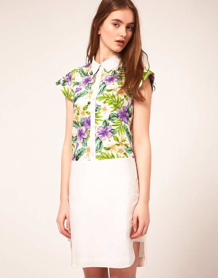 ASOS Shirt Dress With Tropical Print Panel