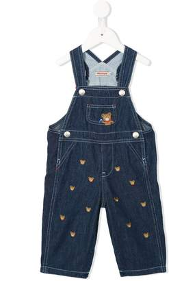 Mikihouse Miki House bear embroidered dungarees