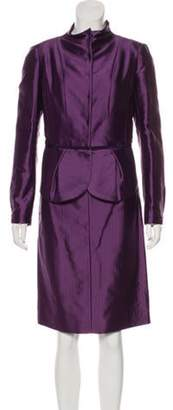 Valentino Satin Structured Skirt Suit Purple Satin Structured Skirt Suit