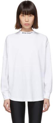 Palm Angels White Logo Long Sleeve T-Shirt