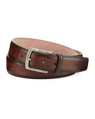 Magnanni Arcade Square-Buckle Calf Leather Belt