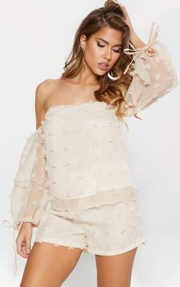 PrettyLittleThing Nude Dobby Spot Woven Blouse