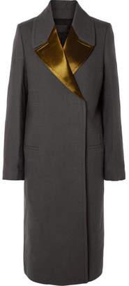 Haider Ackermann Satin-trimmed Wool Coat - Dark gray