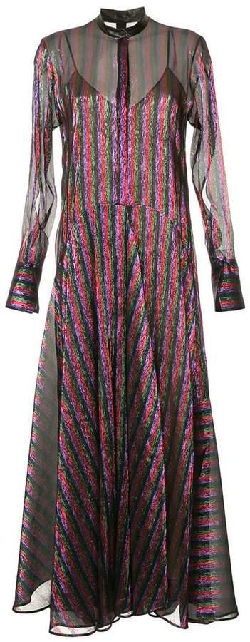 striped flared maxi dress