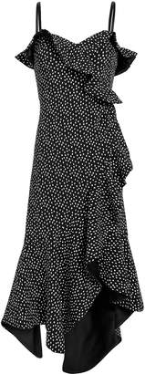 Jonathan Simkhai Speckle Print Asymmetrical Ruffle Dress