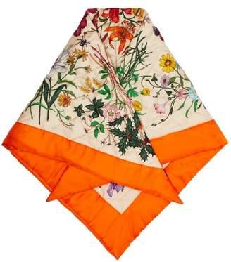 Gucci Flora Print Quilted Silk Scarf - Womens - Orange