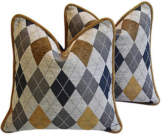 Woven Scottish Argyle Design Pillows