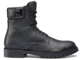 HUGO Boss Faux-fur-lined boots in grainy leather 9 Black