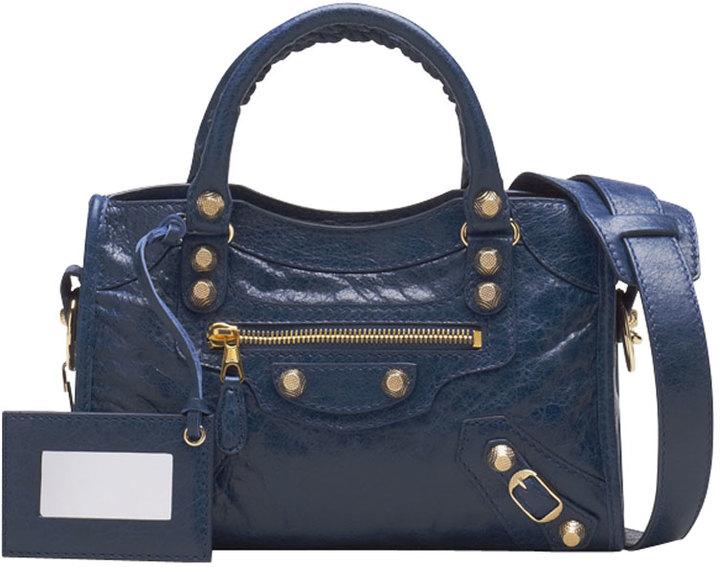 Balenciaga Giant 12 Golden Mini City Bag, Bleu Mineral