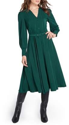 ModCloth Shadow Stripe Belted Long Sleeve Shirtdress