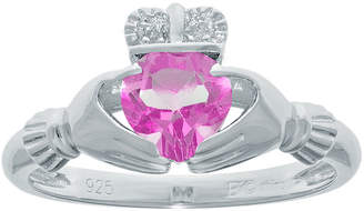 JCPenney FINE JEWELRY Heart-Shaped Lab-Created Pink Sapphire and Diamond-Accent Sterling Silver Claddagh Ring