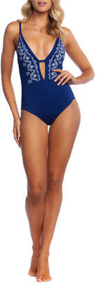 La Blanca Social Club Plunging Embroidered One-Piece Swimsuit
