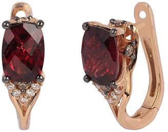 LeVian CORP Le Vian Grand Sample Sale Raspberry Rhodolite, Vanilla Diamonds, & Chocolate Diamonds Earrings set in 14K Strawberry Gold