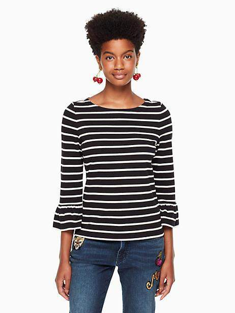 Stripe flounce knit top