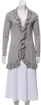 Magaschoni Ruffle-Accented Long Sleeve Cardigan