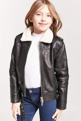 Forever 21 Girls Faux Shearling Moto Jacket (Kids)