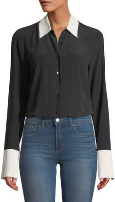 L'Agence Mia Cuffed Silk Button-Front Blouse