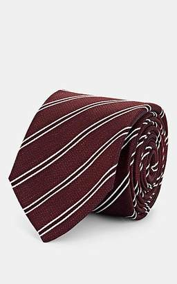 Barneys New York Men's Striped Mélange Silk-Linen Necktie - Wine