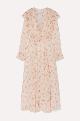Leone We Are we are Marlowe Ruffled Floral-print Silk-chiffon Robe - Cream