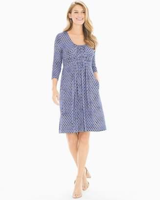 3/4 Sleeve Wrapped Waist Short Dress Alluring Geo Baja