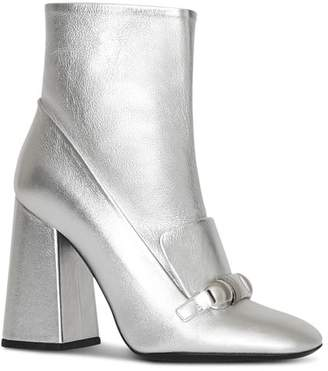 Burberry Women's Brabant Metallic Leather High Block Heel Booties