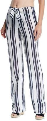 Tory Burch Kellen Striped Tie-Front Linen Beach Pants