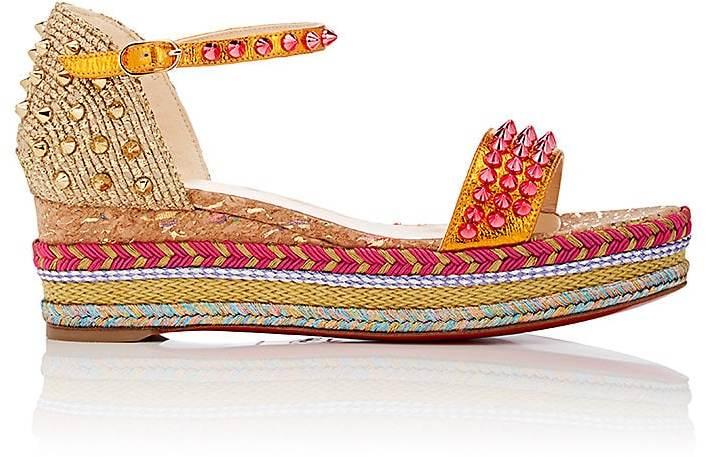 Christian Louboutin Women's Madmonica Leather Wedge Espadrille Sandals