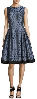 Carmen Marc Valvo Sleeveless Pleated Jacquard Dress $495 thestylecure.com