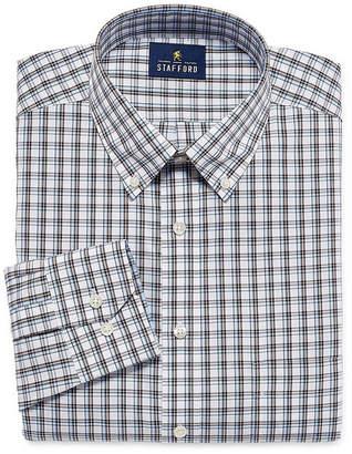STAFFORD Stafford Executive Non-Iron Cotton Pinpoint Oxford Big And Tall Long Sleeve Plaid Dress Shirt