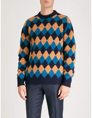 Prada Diamond-intarsia wool jumper