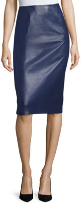 Carolina Herrera Leather Pencil Skirt, Navy $1,690 thestylecure.com